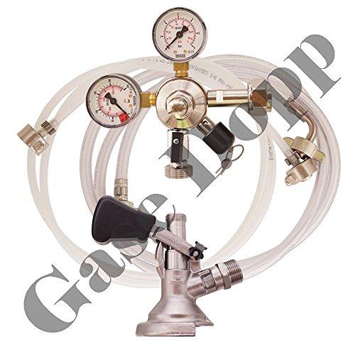 C02 Druckminderer 1 leitig 3 Bar + Bier und CO2 Schlauch + Flach Keg - im Set für Bier Zapfanlagen/Durchlaufkühler / CO2 Flasche von Gase Dopp