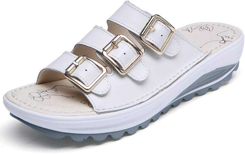 U-MAC Women Flat Platform Sandals Fashion Summer Open Toe Slip On Casual Soft Slippers Mid Heel Anti-Skid Outdoor Walking Beach shoes