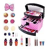 ZZALLLCaja de Maquillaje Lavable para niños, niñas, Juego de cosméticos Predend Play, Sombra de Ojos, Rubor, Brillo de Labios, Cepillo de Juguete, no tóxico