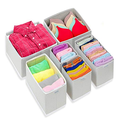 Stockyfy Foldable Cloth Dresser Drawer Organizer – Drawer Divider – Storage Box – Closet – Basket Bins for Underwear, Nursery, Bras, Socks, Clothes – Pack of 6 – Light Grey with White Pipi