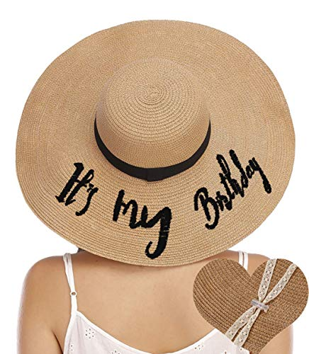 PINJIA Womens Paper Floppy Embroidered Wide Brimb Adjustable Beach Party Sun Hat with Ribbon Band with Wind Lanyard (Natural,Its My Birthday)