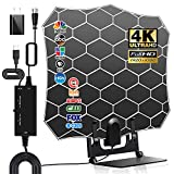 HD Digital TV Antenna Indoor with Amplifier Signal Booster, Supporting 150 Miles Long Range 4K 1080p & All Older TVs Indoor HDTV Television with 12ft Coax Cable, AC Adapter and Stand