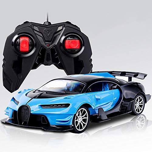 Coche deportivo de control remoto para niños - Bugatti Veyron - relación 1:16, luces LED, cuerpo de carrera 28cm, coche de juguete con control remoto - Regalos para niños y niñas - 27Mhz (azul)