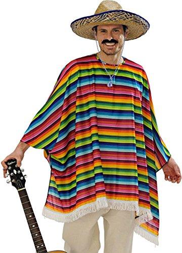 Widmann 9543 x ? Adultes Costume mexicaner ? Poncho et Sombrero, Multicolore, Taille Unique