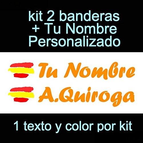 Vinilin Pegatina Vinilo Bandera España + tu Nombre - Bici, Casco, Pala De Padel, Monopatin, Coche, Moto, etc. Kit de Dos Vinilos (Naranja): Amazon.es: Deportes y aire libre