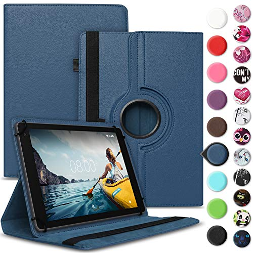 Nauci Tablet Hülle kompatibel für Medion Lifetab E10430 E10414 Tasche Schutzhülle Case Universal Cover Standfunktion 360° Drehbar, Farbe:Blau