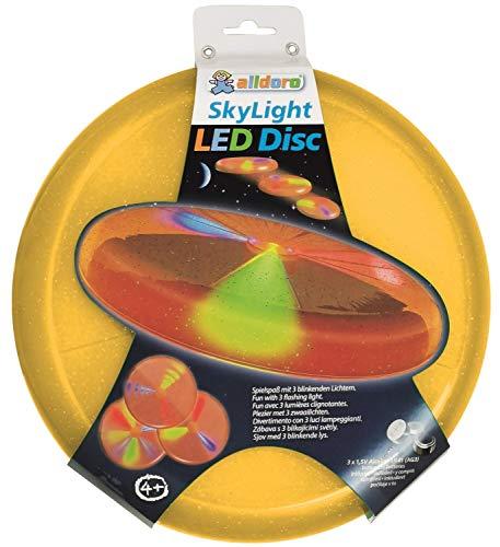 alldoro 63019 Sky Light Disc, Wurfscheibe Ø ca. 27 cm, Frisbeescheibe mit 3 LEDs, für Strand, Garten und Outdoor, Wurfspiel für Kinder ab 4 Jahren & Erwachsene, orange