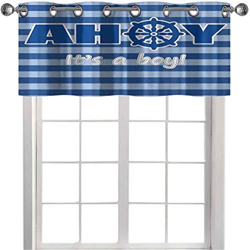 Cenefas pequeñas para ventana de baby shower, anuncio de nacimiento, rueda marina a rayas, telón de fondo de 127 x 45 cm, cenefa de bloqueo de luz para dormitorio, azul claro, blanco