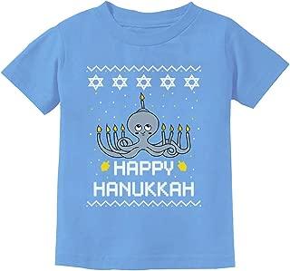 Happy Hanukkah Octopus Menorah Ugly Christmas Holidays Toddler Kids T-Shirt