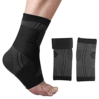 FunCee Ankle Brace Compression Sleeve Wrap (Pair) with Strap for Men & Women, Ankle Arch Support Foot Socks for sprained Ankle, Plantar Fasciitis, Achilles Tendonitis, Joint Pain, Volleyball Gym