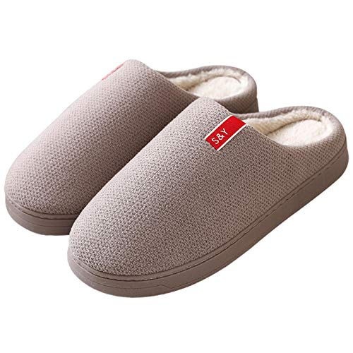 Anti-Slip Sole Indoor & Outdoor,Wooden floor warm House Slipper,men's womens home slipers,autumn winter non-slip indoor shoes,couples Clog,Sturdy sewing shoes-light_coffee_41-42