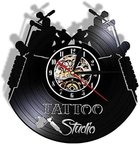 Tattoo studio vinyl record wandklok modern design salon winkel muur logo 3D decoratie vinyl klok muur opknoping tafel huisdecoratie-4