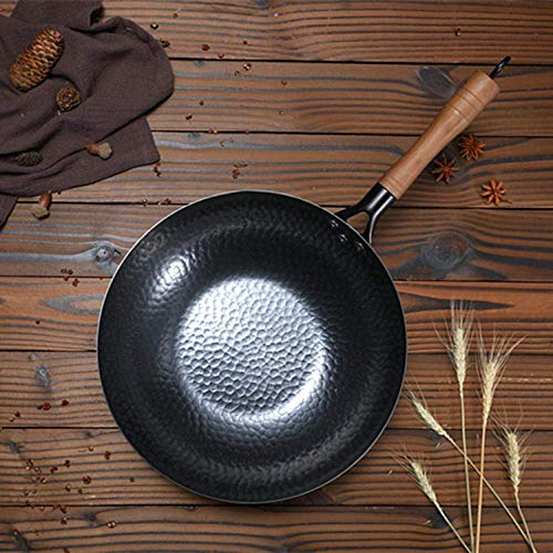 Wok accessoires, Perfect gezonde droge koekenpan, Non-coated non-stick pan fornuis gasfornuis-Single pot_32cm, Koperen koekenpan antiaanbaklaag roestvrijstalen inductie anti-kras pan, High warmte in w