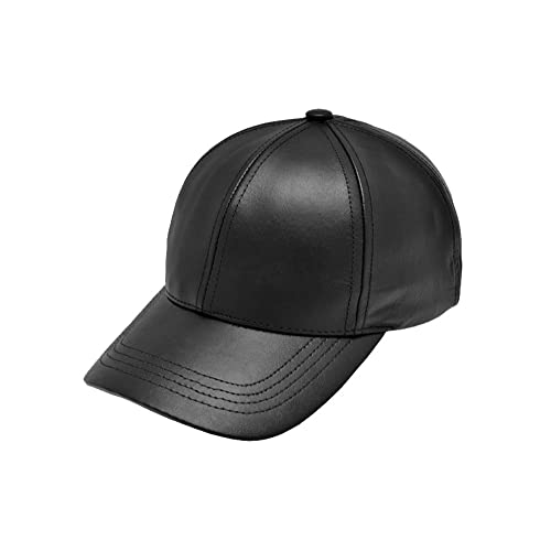Black Leather Adjustable Baseball Cap Hat Made in USA 3979a3c133
