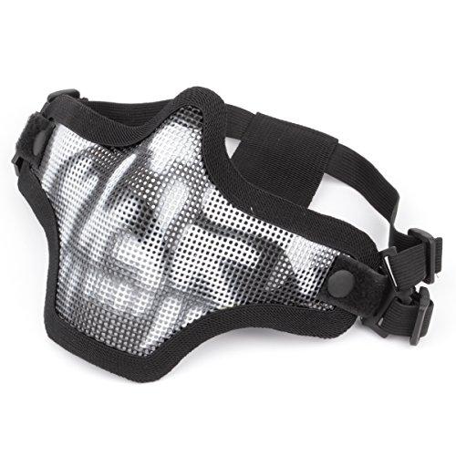GES al Aire Libre táctico CS Malla de Alambre máscara Airsoft Malla de Acero máscara de la Mitad de la Cara con Camuflaje para Airsoft Shooting Paintball (Esqueleto)