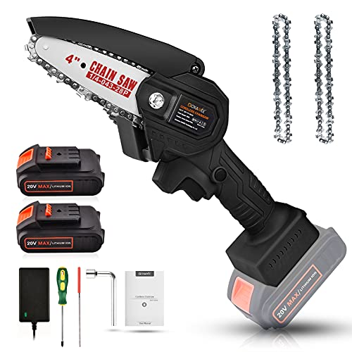 Mini Chainsaw Cordless, GOXAWEE 4-inch Electric Portable Chainsaw with 2pcs 20V Lithium Batteries Pruning Shears Chainsaw, One-hand Lightweight Logging Wood Cutting Pruning Chainsaw Garden Tool