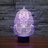 3D Illusion Egipto esfinge Faraon Lámpara luces de la noche ajustable 7 colores LED Creative Interruptor táctil estéreo visual atmósfera mesa regalo para Navidad