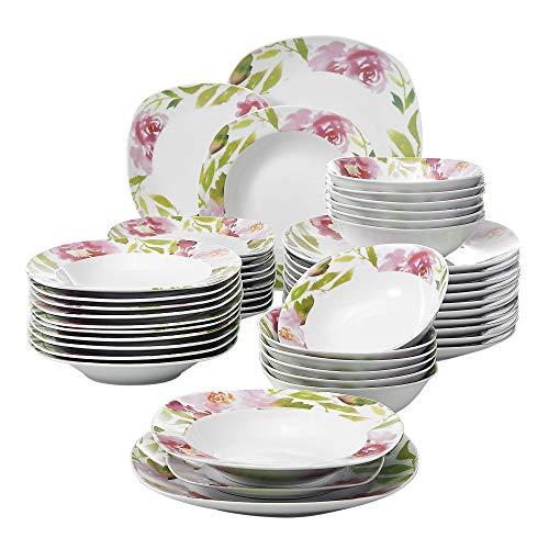 VEWEET Ashley Servizio da Tavola in Porcellana Set 48 Pezzi con 12 Ciotola per Cereali, 12 Piatti, 12 Piatti da Dessert e 12 Piatti Fondi per 12 Persone
