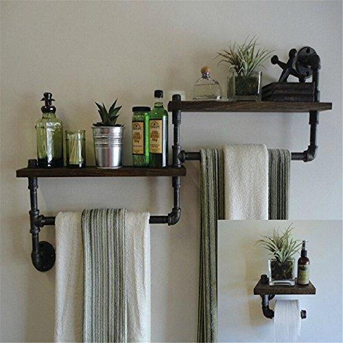 Hlluya Handtuchhalter Retro Industrial Air wc Bügeleisen Rohre an der Wand Handtuchhalter Badezimmer Holzregale gebaut - im Regal, 80 * 20 * 55 cm