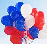 Party Balloons 12 Inches latex balloons Set (105 Pack) White Blue Red Made With Strong Latex for Birthday Party Wedding Baby Shower Graduation Fiesta Decorations 086E