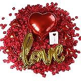 huaao 3000pcs Petali di Rosa Fiori Artificiali Palloncini Cuore e Palloncini Love Amore Kit...