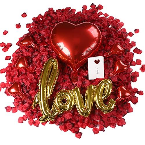 huaao Petali di Rosa 3000pcs Fiori Artificiali Palloncini Cuore e Palloncini Love Amore Kit Decorazioni Anniversario Regalo Romantica San Valentino Matrimonio Compleanno Festa della Mamma