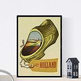 Nacnic Poster vintage. Cartel vintage de Europa. Viaja a Holanda. Tamaño A3