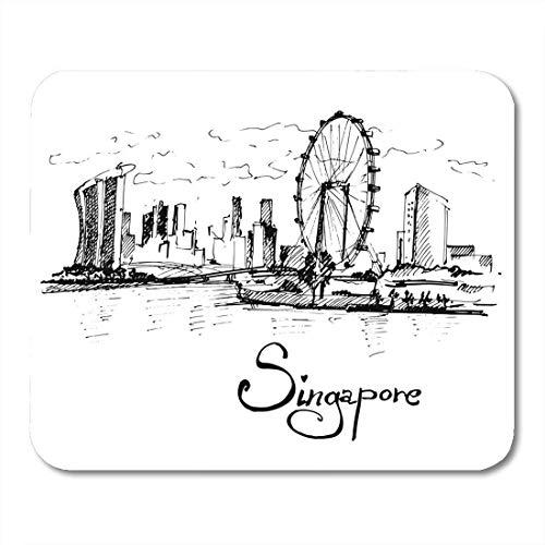 Mauspad skyline republik singapur skizze landschaft menschen tourismus reise mousepad für notebooks, Desktop-computer mausmatten, Büromaterial