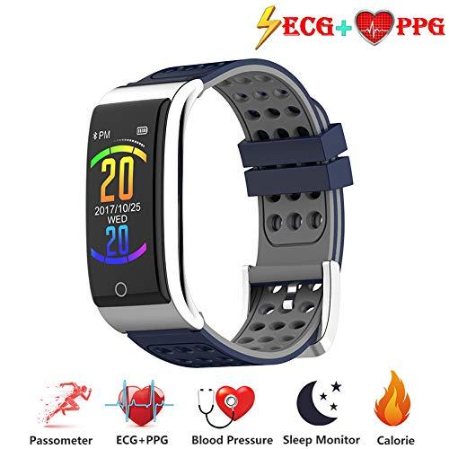 Zeerkeer ECG e Orologio da Polso cardiofrequenzimetro PPG Orologio da Fitness per attività Fisica Fitness Tracker Step Counter per Donne (Grigio-Blu)