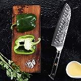 TURWHO Santoku Messer Damast,extra Scharfes Klingenblattö 18cm aus Profi Küchenmesser Damastmesser,Japanisches kochmesser, Japanisches VG-10 & ergonomischer G10 Griff - 4