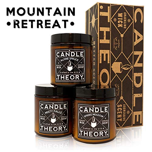 Scented Candle Gift Set with Crackling Wood Wicks - 3, 4 oz Candles - Misty Falls, Alpine Spruce, Spring Meadow - Designed for Both Men and Women but Perfect for Man Cave Decor - Wood Wicks Candle