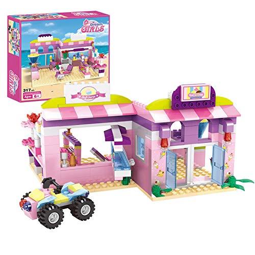 Dream Girls Friends Juego de construcción de heladería - Juego de Ladrillos de construcción de Tienda de postres de Playa Junto al mar Rosa para niñas de 6 a 12 años en adelante, 317 Piezas