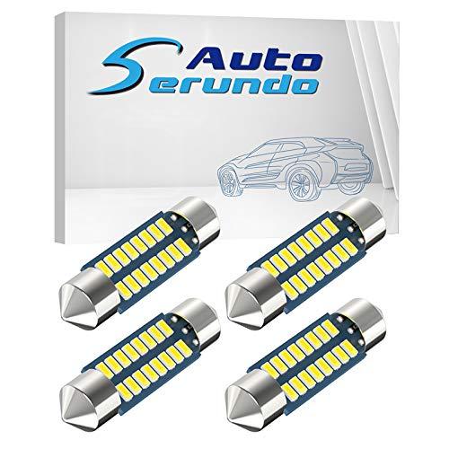 Serundo Auto 6418 Led Festoon Bulb 36mm 1.42in C5W Festoon Led , Super Bright 16SMD 3014 Chips 6000k White Interior Led Bulb Used for Car Map Dome Courtesy Trunk Light etc, Pack of 4pcs