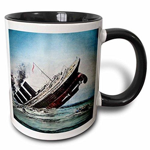 3dRose Titanic - Taza de cerámica, diseño de Linterna mágica con Dos...