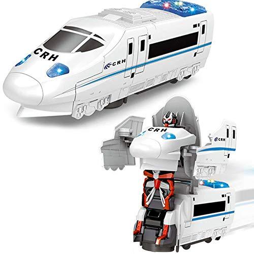 Modelo de juguete de ferrocarril de alta velocidad eléctrico para niños, TransverRobot Cars Juguetes con luces de colores y música, Robots de deformación Trenes, Regalos para niños y niñas Cumpleaños