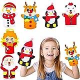Paquete de 6 Kit de Costura de Fieltro para Niños, Marionetas de Mano de Navidad para Niños Coser, para Niños Principiantes Niñas Regalo Hecho a Mano