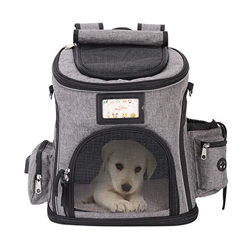 Bingopaw Mochila para Mascotas Transpirable, Mochila Portátil de Transporte para Perros Gatos, Portador de Cachorros para Viaje al Aire Libre, 28 x 24 x 35cm, Color Gris