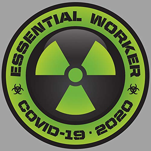10 PACK 2' Essential Worker Hard Hat Sticker Nuclear GREEN Toxic Hazard Decals - Quarantine Coronavirus 2' Inch Circle Sticker Pack 2020 Set