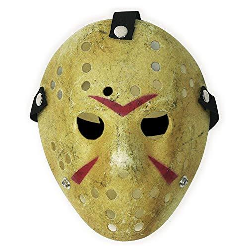 CASACLAUSI Jason Máscara Cosplay Víspera de Todos los Santos Disfraz Horror Hockey (Adulto, Amarillo)