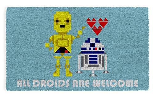 Pyramid America Felpudo de Star Wars All Droids are Welcome – 73,6 x 43,1 cm para interior y exterior con parte trasera antideslizante de PVC – duradero y fácil de limpiar