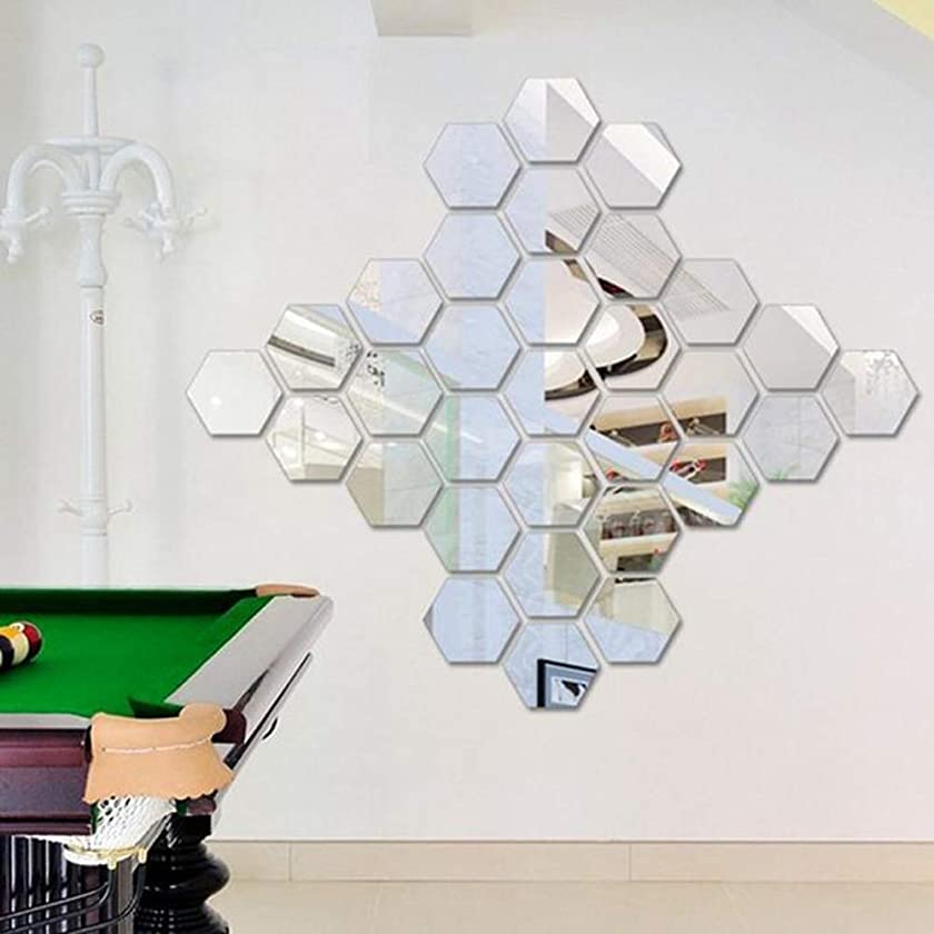 Removable Wall Sticker Clearance Sale, Libermall 12Pcs 3D Mirror Hexagon Vinyl Wall Sticker Art Home Decor DIY Wall Mural Decal Sticker, Best for Shop Family Room Indoor Fancy Decoration (Silver)