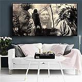 Carteles e impresiones de pintura india nativa en blanco y negro retrato lienzo arte escandinavo cuadro de pared para sala de estar 60x120 CM (sin marco)