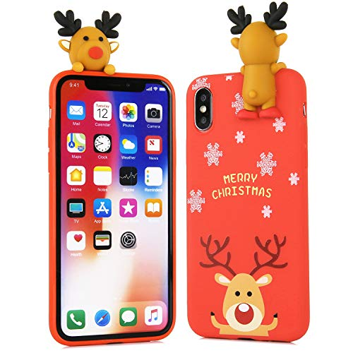 Beatuiphone Santa Case for iPhone Xs/X,Christmas 3D Deer Elk Funny Soft TPU Silicone Gel Rubber Full Protective Cover (iPhone X/Xs, red#2 Deer)