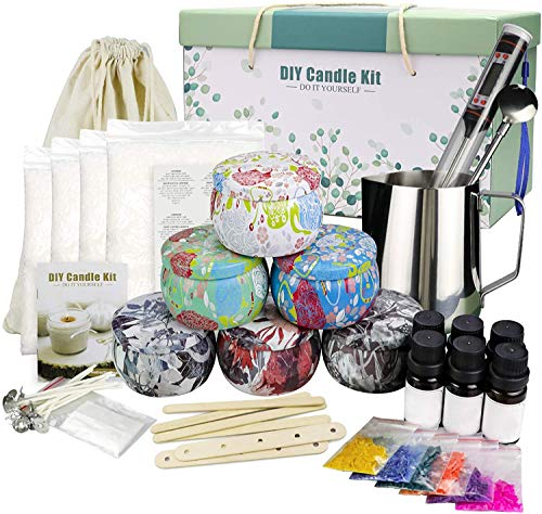 Candle Making Kit,Beeswax Scented Candles Supplies Arts and Crafts for Adults and Teens Gift Set for Women Including Fragrance, Soy Wax, Cotton Wicks, Metal Pot, Candle Dyes, Candle Jars and More