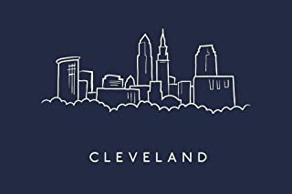 Cleveland City Skyline Pencil Sketch Cool Wall Decor Art Print Poster 36x24