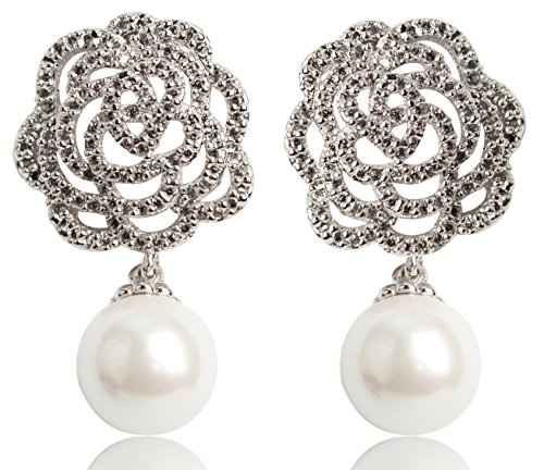 Fashion jewelry women's camellia flower charm immitation pearl dangle earrings