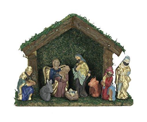 Decoline Weihnachtskrippe mit 9 Keramik Figuren 24cm