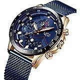 LIGE - Reloj de pulsera analógico de cuarzo para hombre, de acero inoxidable, resistente al agua, con fecha de negocios, Azul, 8.07