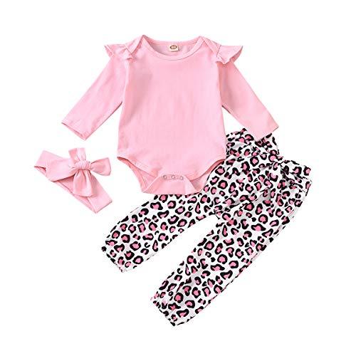 Trajes de bebé niña recién Nacido 0-6 Meses Mameluco con Volantes para bebés Pantalones de Leopardo Rosa Body de Manga Larga con Diadema para Invierno