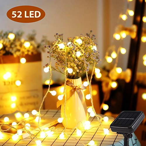 Solar Lichterkette, Mr.Twinklelight® 6.7M 52er LED Lichterkette Außen, 8 Lichtermodi IP44, ideal für Weihnachtsbeleuchtung, Außen und Innen Deko, Gärten, Party, Bäume, Warmweiß